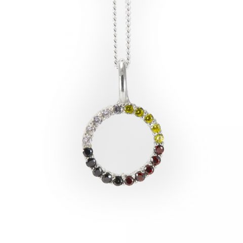 Medicine wheel, Four direction Pendant in Sterling silver made by Hand of Solomon, Aboriginal Jewellery. Native artist Louise Solomon. Yellow, red, black and clear stones.