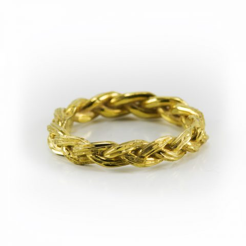 Braided Sweetgrass Wedding Band, cut from one piece then forged to make two rings. Native jewelry brought to you by Hand of Solomon Jewellery. Designed by Louise Solomon Ojibwe artist from Toronto Canada. Yellow Gold.